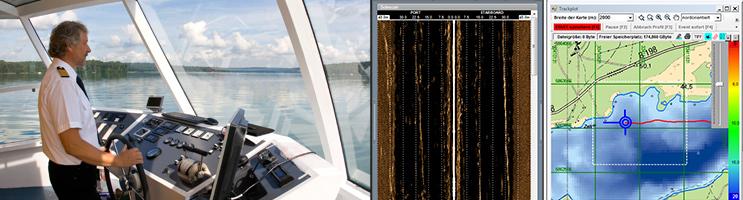 Foto Kommandobrücke sowie Screenshots Sonar und Geoinformationssystem